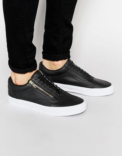 Кожаные кроссовки с молниями Vans Old Skool - Черный