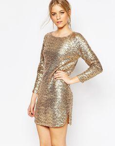 5343d687312 Купить женские платья с длинным рукавом из золота в интернет ...