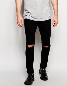 Облегающие джинсы с рваными коленками Hype - Черный