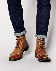 Кожаные ботинки в стиле милитари Base London Clapham - Коричневый