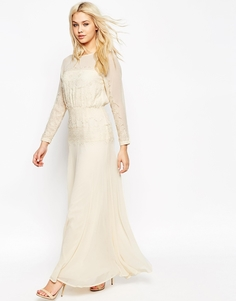 Платье макси со вставками из тонкого кружева ASOS - Кремовый