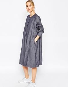 Джинсовое платье шамбре с запахом ASOS WHITE Ovoid - Синий