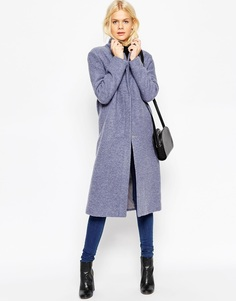 Полушерстяное пальто на молнии спереди ASOS - Голубой джинсовый