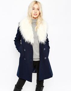 Пальто-бушлат с отделкой искусственным мехом ASOS - Темно-синий