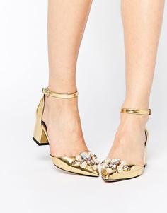 Туфли на каблуке с отделкой ASOS SPARKLE - Золотой