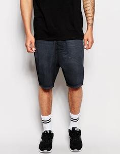 Серые джинсовые шорты с заниженным шаговым швом ASOS - Выбеленный черный