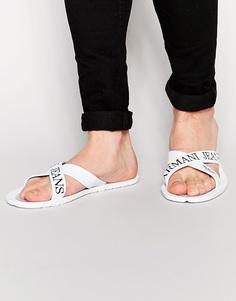 Шлепанцы с фирменным логотипом Armani Jeans - Белый