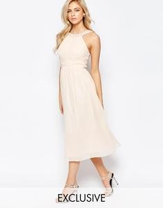 Платье миди с отделкой и юбкой из шифона Little Mistress - Телесный