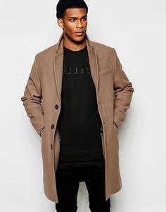 Светло-коричневое шерстяное пальто ASOS - Серо-коричневый