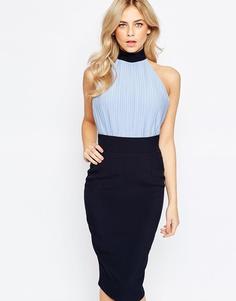 Платье-футляр с лифом-блузой высокой горловиной Vesper