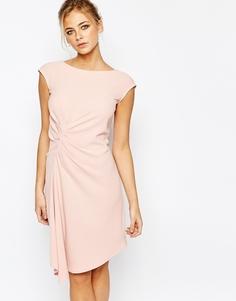 Платье миди с коротким рукавом и присборенной отделкой Closet - Розовый