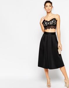 Неопреновая юбка миди со складками ASOS - Черный