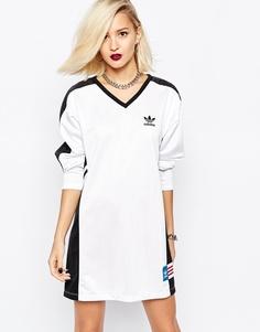Платье с длинными рукавами и контрастными вставками adidas Originals Rita Ora