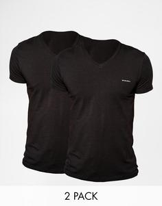 Комплект из двух зауженных футболок с V-образным вырезом Diesel - Черный