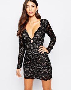 Кружевное платье мини с глубоким треугольным декольте Love - Черный