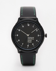 Часы с кожаным ремешком Mondaine Helvetica NY - Черный