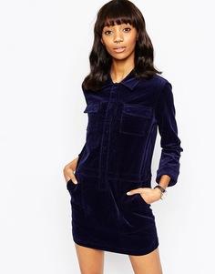 Темно-синее вельветовое цельнокройное платье ASOS - Темно-синий