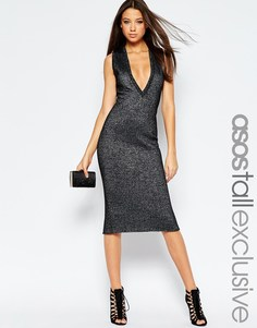 Платье миди цвета металлик с глубоким вырезом ASOS TALL - Серебряный