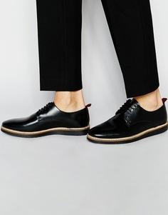 Черные кожаные туфли дерби с красными петельками на заднике ASOS - Черный