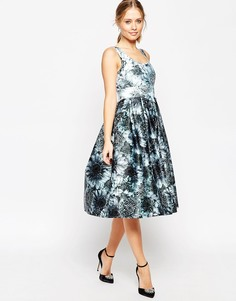 Платье миди для выпускного с цветочным узором ASOS Premium - Черно-белый