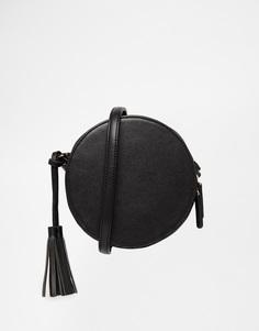 Круглая сумка через плечо с кисточкой ASOS - Черный