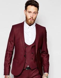 Облегающий пиджак с лацканами наклонной формы Noose & Monkey - Burgundy