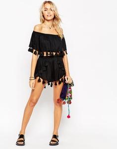 Пляжные шорты с бахромой ASOS Co-ord - Черный
