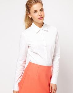 Белая рубашка с фигурным воротником ASOS - Белый
