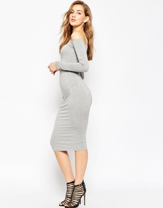 Облегающее платье миди с длинными рукавами ASOS Bardot - Черный