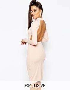 Облегающее платье миди с высокой горловиной Naanaa - Телесный