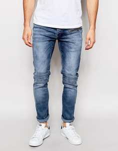 Грязно-синие байкерские джинсы Kubban - Синий