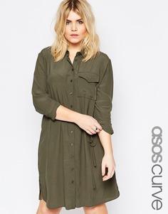 Платье-рубашка с карманом и пояском ASOS CURVE - Хаки