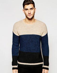Джемпер в стиле колор блок Sisley - Темно-синий
