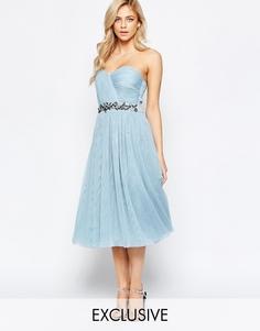 Платье-бандо миди с отделкой и юбкой из тюля Little Mistress - Нежно-голубой