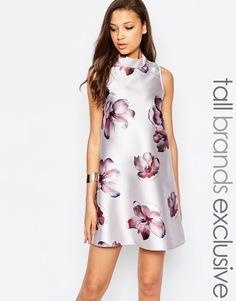Цельнокройное платье с цветочным принтом True Decadence Tall - Сиреневый