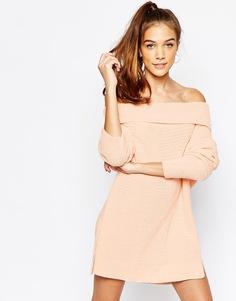 Джемпер с отворачивающейся горловиной и открытыми плечами Daisy Street - Розовый