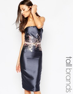 Платье-футляр миди с принтом на поясе Little Mistress Tall - Серый