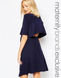 Двухслойное свободное платье с оборками сзади Bluebelle Maternity - Темно-синий
