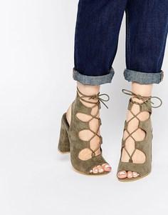 Сандалии цвета хаки на блочном каблуке Public Desire Faye Ghillie - Хаки