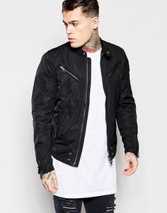 Легкая черная куртка из нейлона в байкерском стиле Diesel J-Edge-A - Черный