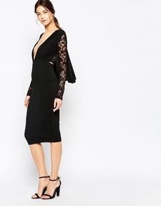 Платье миди с кружевными рукавами и спинкой Hedonia Missy - Черный