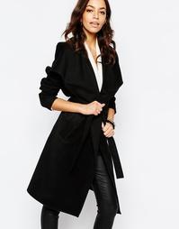 Пальто с запахом и поясом J.D.Y - Черный JDY