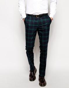 Зауженные брюки в шотландскую клетку Noose & Monkey - Зеленый