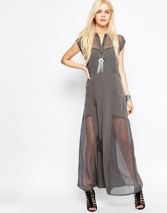 Платье макси Religion Serinity - Темно-серый меланж