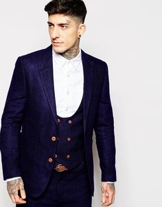 Пиджак зауженного кроя с шевронным узором ASOS - Темно-синий