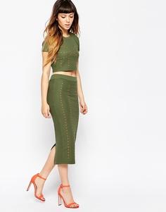 Вафельная узкая юбка с заклепками House of Holland - Зеленый
