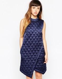 Шелковое стеганое платье с запахом House Of Holland - Темно-синий