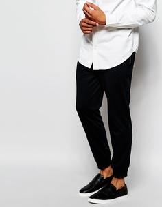 Спортивные брюки слим из пике ASOS - Темно-синий