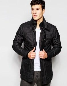 Длинная вощеная куртка Threadbare - Черный