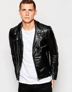 Кожаная байкерская куртка с асимметричной молнией Replay - Черный
